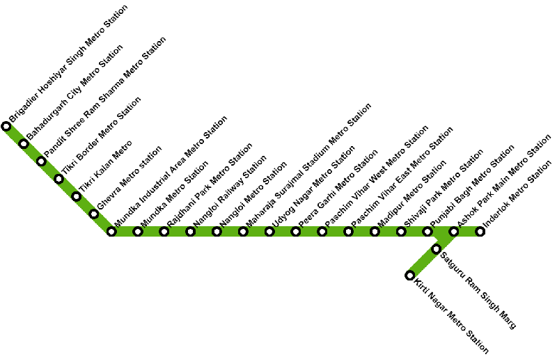 Delhi Metro Green Line Route Map