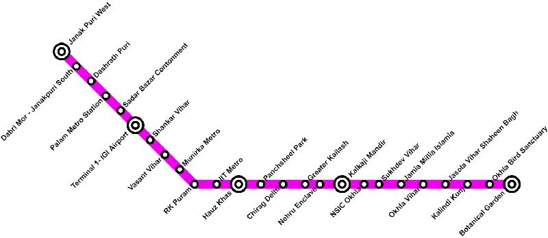 Delhi Metro Magenta Line Route Map