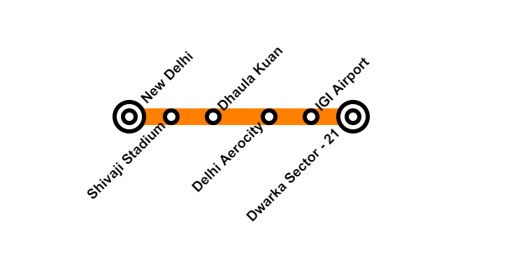 DMRC Airport Line Map