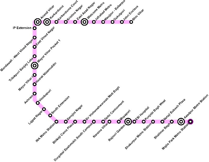 Delhi Metro Pink Line Route Map