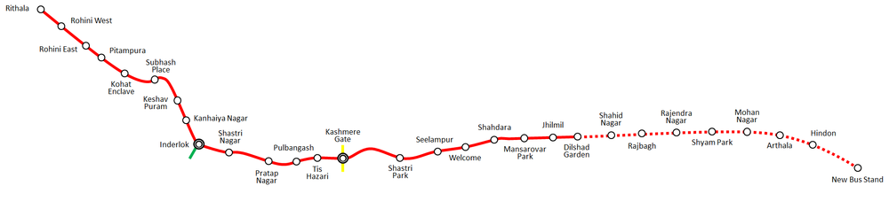 DMRC Red Line Map