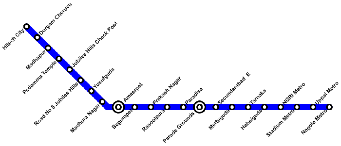 Hyderabad Metro Blue Line Route Map