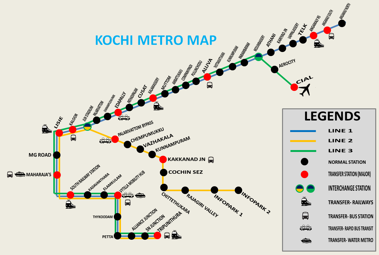 Kochi Metro Map   Kochi Metro Route Map, Kochi Metro Phase 1 Route